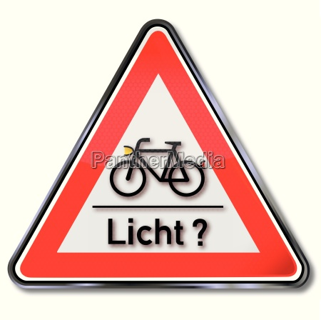 sign with bicycle and light test