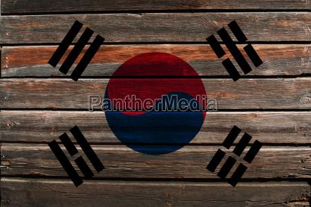 flag of south korea on wood