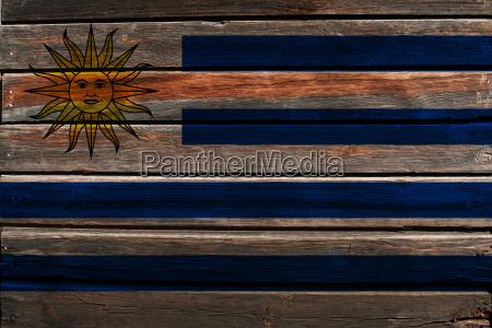 flag of uruguay on wood