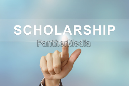 business hand clicking scholarship button on
