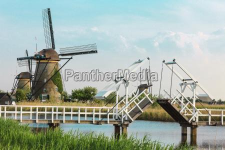 beautiful traditional dutch windmills near the