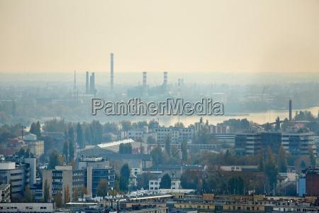 hazy suburbs view