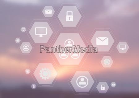 light tech communication icons on blurred