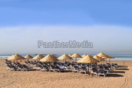 sunbeds and umbrellas on the beach