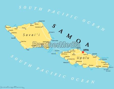 Samoa Political Map - Stock Photo - #17842397 - PantherMedia Stock on