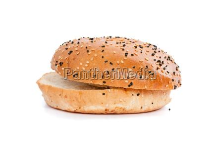 burger bun with sesame seeds on