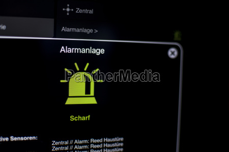 alarm visualization on the tablet with