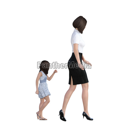 mother daughter interaction of girl following