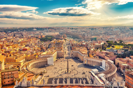 aerial view of rome from saint