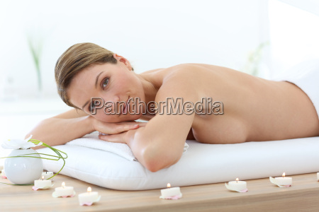 beautiful middle aged woman relaxing on