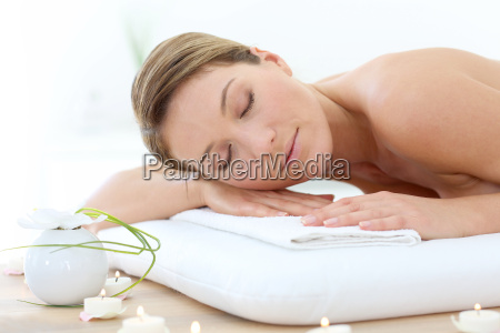 attractive woman relaxing with eyes shut