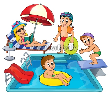 children by pool theme image 3