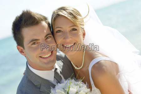 portrait of just married couple by