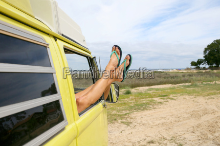 closeup of womans feet relaxing by