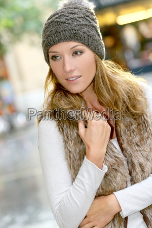 portrait of trendy girl with winter