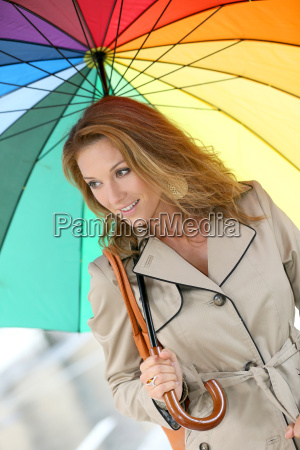 woman on a rainy day walking