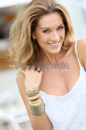 portrait of attractive woman wearing bracelets