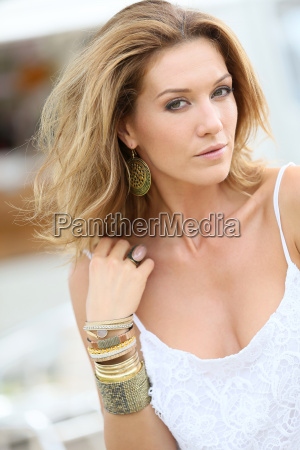 portrait of attractive woman wearing bracelets