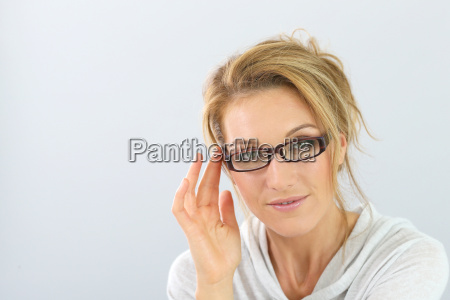 portrait of blond woman with eyeglasses