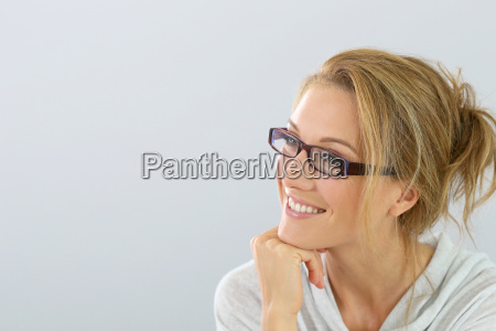 portrait of smiling blind woman with