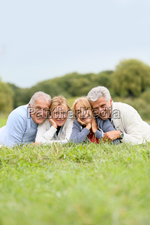 portrait of senior people laying in