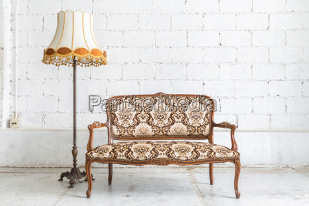 brown sofa couch lamp