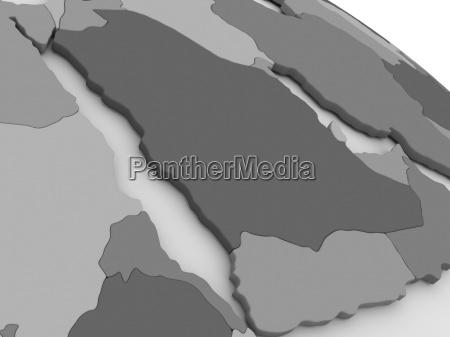 arab peninsula on grey 3d map