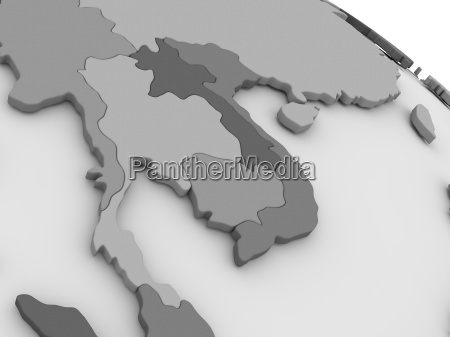 thailand on grey 3d map