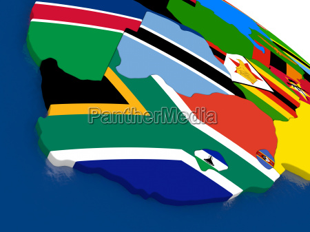 south africa on 3d map with