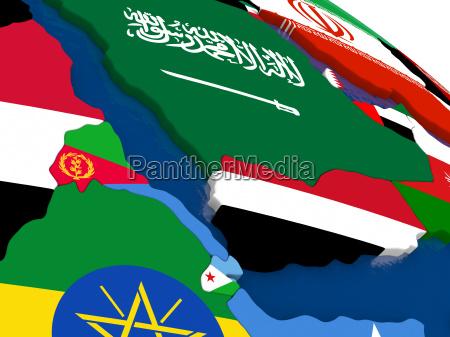 yemen eritrea and djibouti on 3d