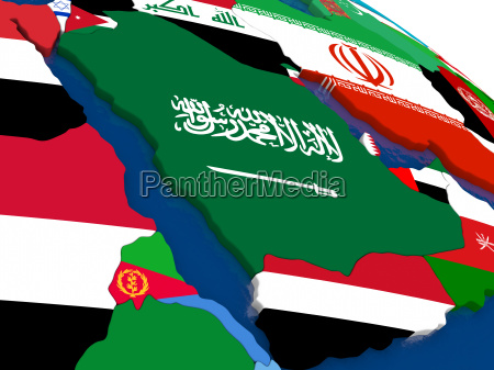 arab peninsula on 3d map with