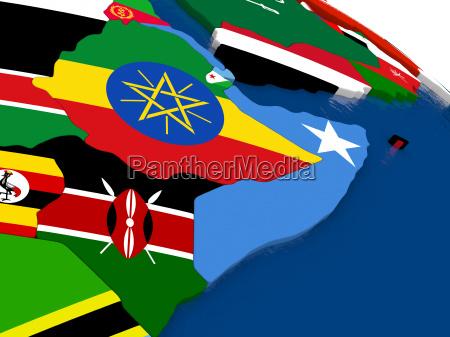 somalia and ethiopia on 3d map