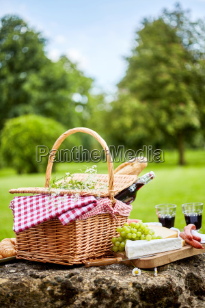 tasty spring picnic lunch with red