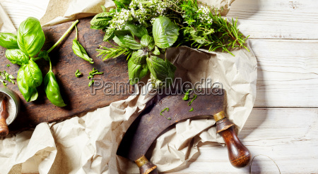 chopping, assorted, fresh, herbs, with, a - 17875850