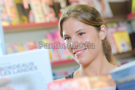 closeup of woman reading