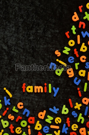the word family written with colorful
