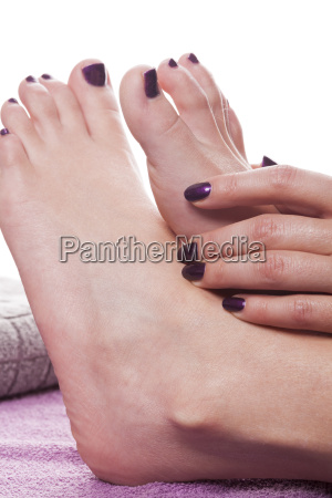 well groomed female hands and feet
