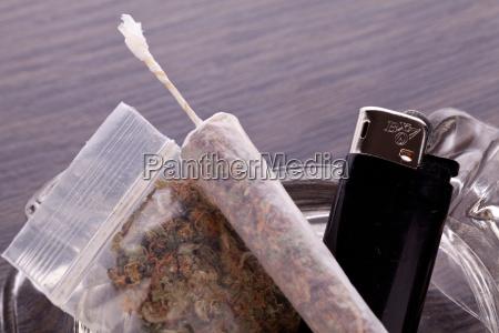 cannabis marijuana with water pipe and