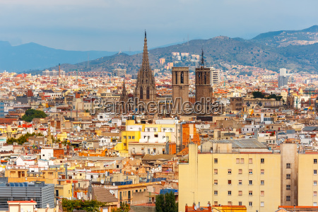 aerial view of barcelona catalonia spain