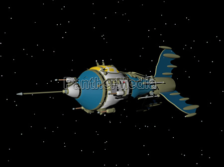comic spaceship in space