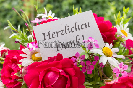 summer flowers and card with german