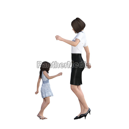 mother daughter interaction of dancing together