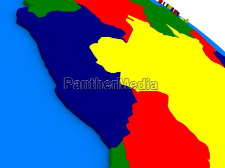 peru on colorful 3d globe