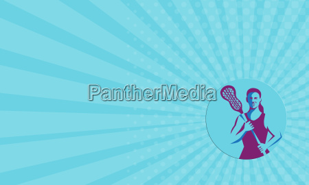 business card female lacrosse player stick