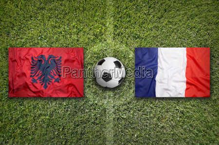 albania vs france flags on soccer