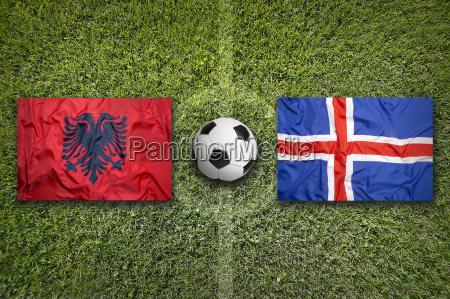 albania vs iceland flags on soccer