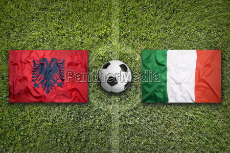 albania vs italy flags on soccer