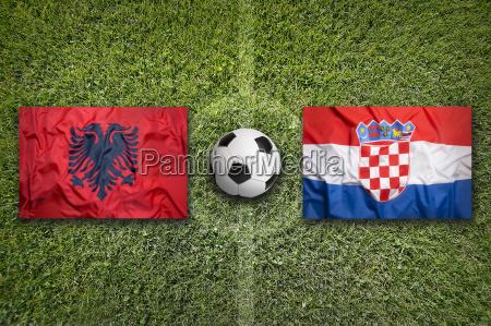 albania vs croatia flags on soccer