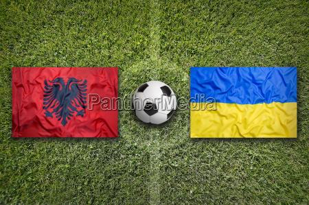 albania vs ukraine flags on soccer