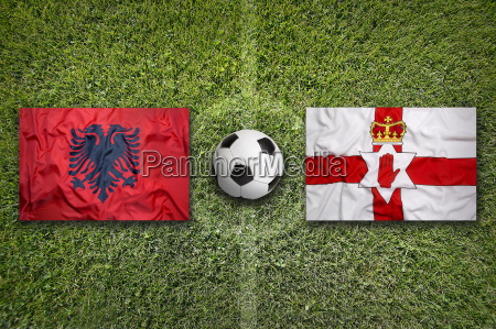 albania vs northern ireland flags on